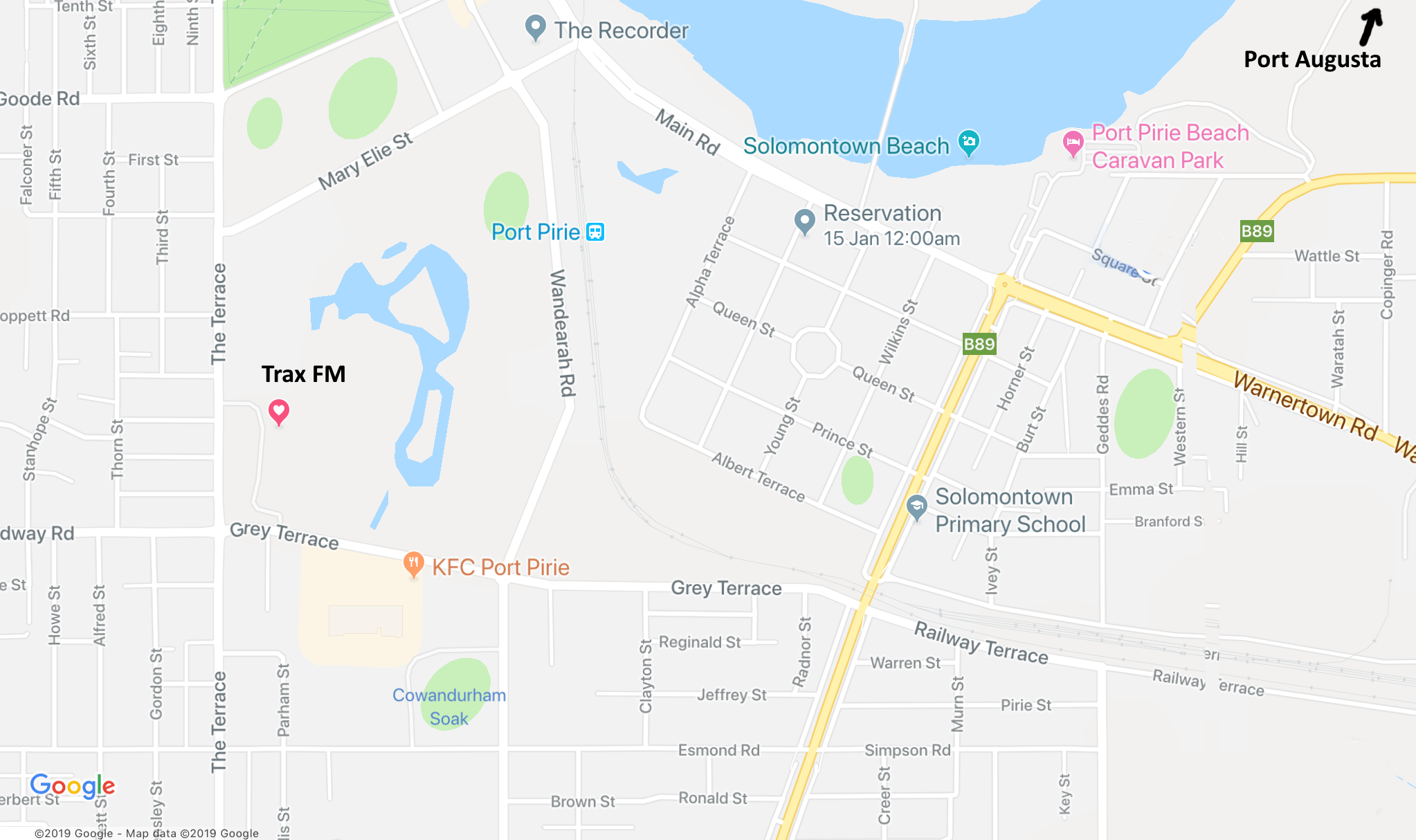 Map of Port Pirie and Trax FM